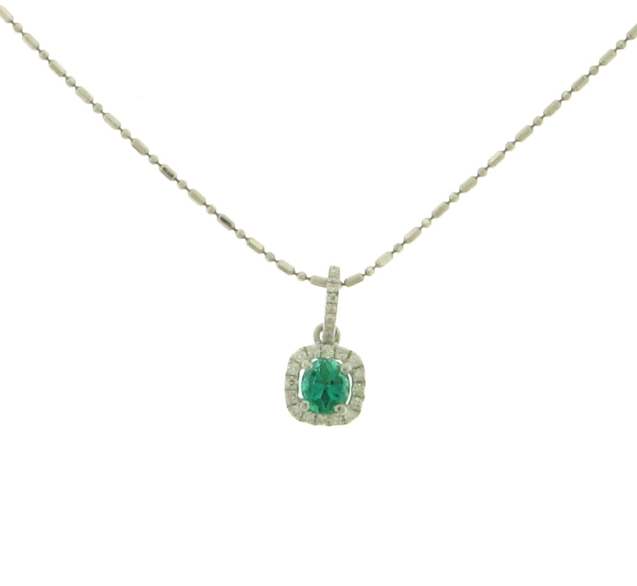 NEC063042 Diamond Emerald Pendant