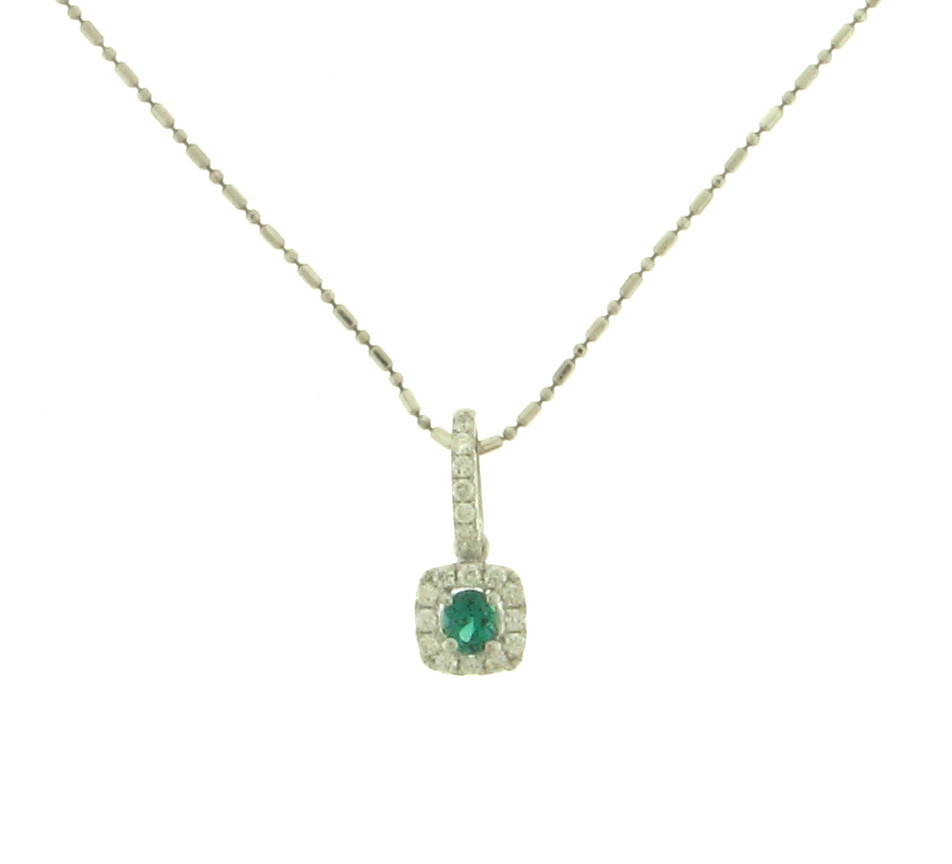 NEC063047 Diamond and Emerald Pendant