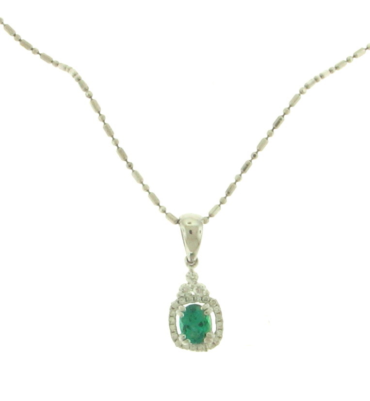 NEC063048 Diamond and Emerald Pendant